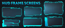 Screens HUD, UI, GUI, Futuristic User Interface Frames. Callouts Titles And Sci-fi Digital Boards Collection. HUD Elements For Video Games, Apps, Movie. Holograms Screens. Vector Set Info Frames