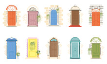 Front Doors With Plants Symbol Collection Vector Design