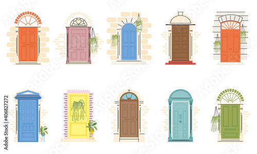 Obraz front doors with plants symbol collection vector design - fototapety do salonu