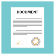 Document Sign Icon. Document, Folder With Stamp, Text On A Blue Background. Illustration