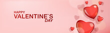 Happy Valentines Day Banner With Heart Shaped Balloons Red Color And Light Pink Background.