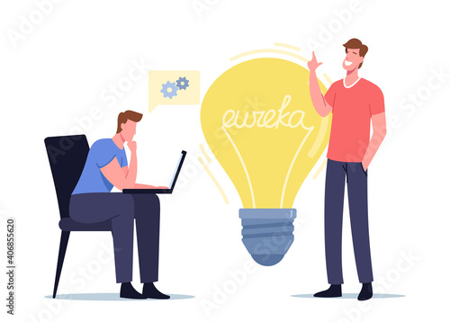 Obraz Eureka Concept. Businessmen Colleagues Characters with Laptop Sit at Huge Light Bulb Thinking Creative Idea, Brainstorm - fototapety do salonu