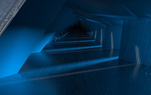 Empty Tunnel With Technology Lines, 3d Rendering.