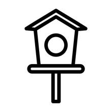 Bird House Line Icon Logo Illustration Vector Isolated Design. Spring Season Icon Theme. Suitable For Web Design, Logo, App, And UI.