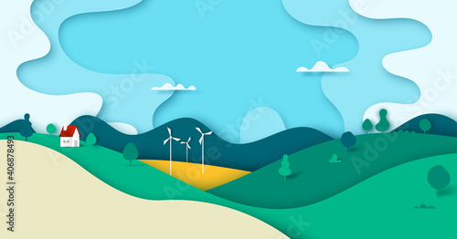 Cuadros en Lienzo Green nature forest landscape scenery with house in countryside banner background paper art style