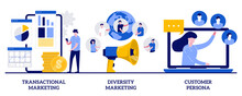 Transactional And Diversity Marketing, Customer Persona Concept With Tiny People. Marketing Strategies Abstract Vector Illustration Set. Individual Sales, Customized Advertising Metaphor