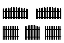 Black Fence In Rustic Style. Sections Of Different Fences. Black Parts Of Inclosure. Stock Image. EPS 10.