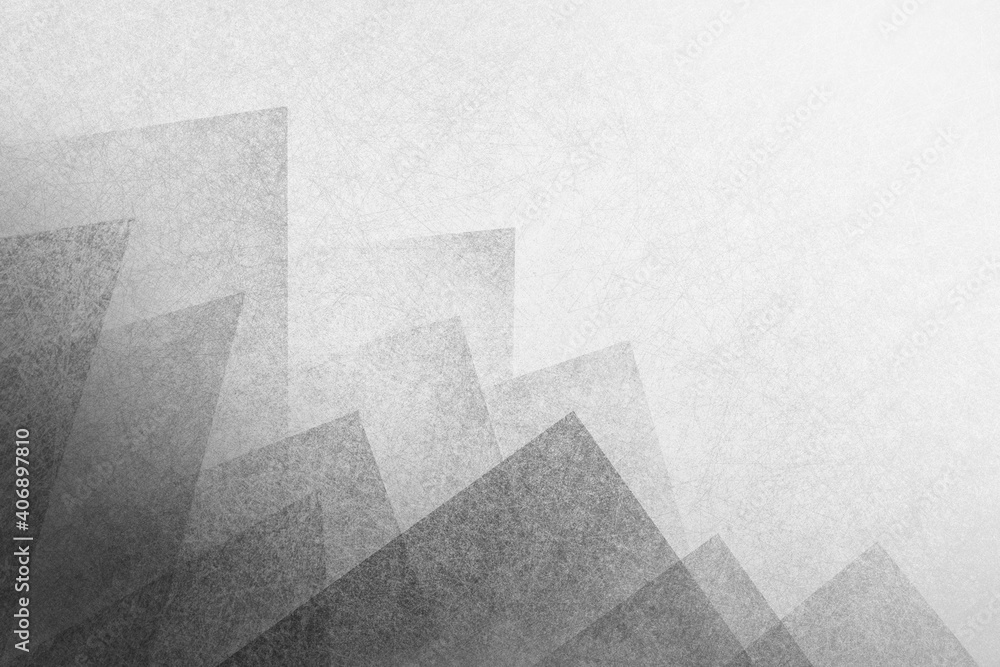 Fototapeta Abstract black background with white haze and geometric triangle shape pattern on border, textured layers in detailed elegant layout