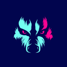Wolf Eyes Line. Pop Art. Colorful Design With Dark Background. Abstract Vector Illustration.