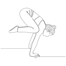 Continuous Line Of Woman Doing Yoga In Crow Pose. Yoga Exercise Concept