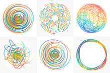 Colorful Scribles - Circles, Spheres And Doodles. Set Of Bright Backgrounds For Abstract Design.