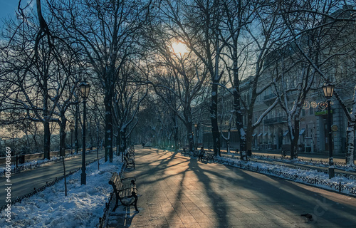Fotografie, Obraz Photo of winter urban landscape with Primorsky boulevard in Odessa Ukrane