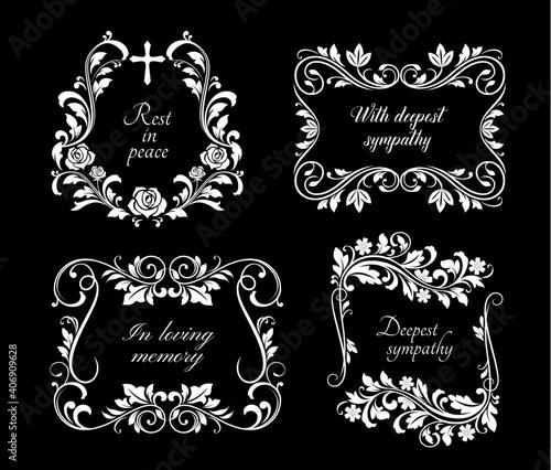 Fototapeta Funeral memorial frames with floral ornaments