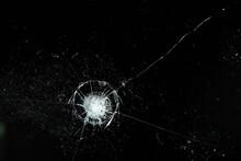Cracks On Black Glass Background, Broken Abstract Glass Hole Destruction Concept