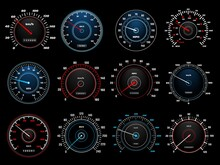 Speedometers, Speed Indicator Vector Dashboard Dial Scales For Auto. Vehicle Board Realistic Interface, Isolated Car Speedometers With Km Digits And Arrows, Speed Accelerate, Transportation Technology