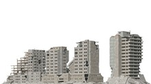 Ruined Buildings Isolated On White 3d Illustration