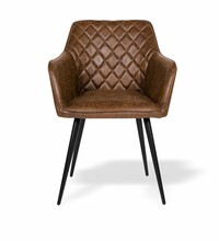 Comfortable Quilted VINTAGE BROWN LEATHER CARVER DINING CHAIR.  Intended For Hotels, Restaurants, Apartments, Etc.
