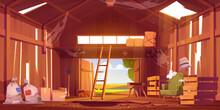 Abandoned Barn Interior With Broken Furniture