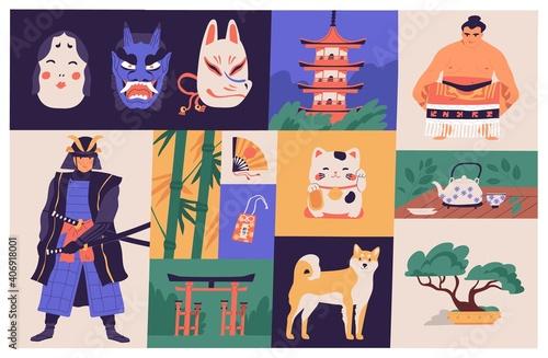 Collage of Japanese national culture, art, sport and traditions. Traditional Japan buildings, bonsai tree, masks, Akita dog, sumo wrestler, samurai warrior and kawaii kitty. Flat vector illustration