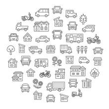 家と車と二輪車と植物のサークルギャラリー(ぬりえ用拡張前の線のみ)
