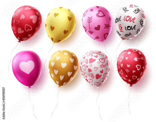 Birthday balloons set vector design. Balloon elements for birthday celebrations and party decorations isolated in white background. Vector illustration.
