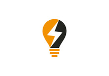 Lightning, Electric Power Vector Logo Design Element. Power Energy Logo Design With Bulb Icon
