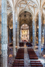 Interior Of The Hieronymites Monastery, Mosteiro Dos Jeronimos Is Located In Lisbon Portugal