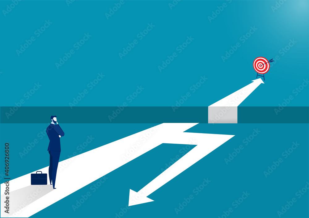 Fototapeta Businessman standing on middle way and choosing direction. Business concept. Modern vector illustration. Direction