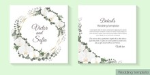 Vector Template For Wedding Invitation. White Orchids, Eucalyptus, Green Plants And Leaves, Polygonal Gold Frame.