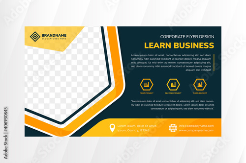 green flyer template design with example headline is Learn business. Hexagon for space of photo collage. Advertising banner with horizontal layout. dark green background with mosaic yellow element.