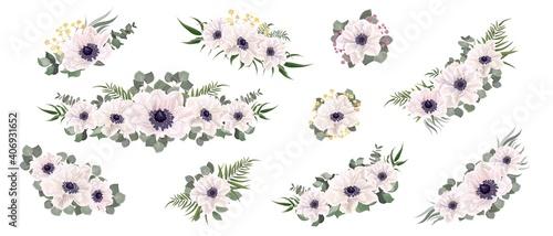 Fotografiet Set of flower compositions