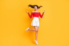 Full Length Body Size Photo Of Pretty Girl Wearing White Skirt Red Off-shoulders Top Smiling Isolated On Bright Yellow Color Background