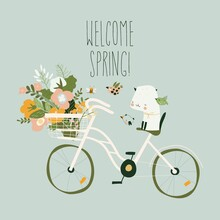 Cute Cartoon Cat Sitting On Bike With Spring Bouquet Of Flowers