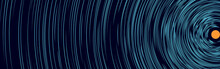 Ripple Concentric Lines Over Orange Circle. Water Splash Effect Or Moon Light Concept.