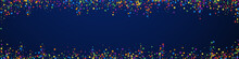 Festive Beautiful Confetti. Celebration Stars. Rainbow Confetti On Dark Blue Background. Alive Festive Overlay Template. Panoramic Vector Background.