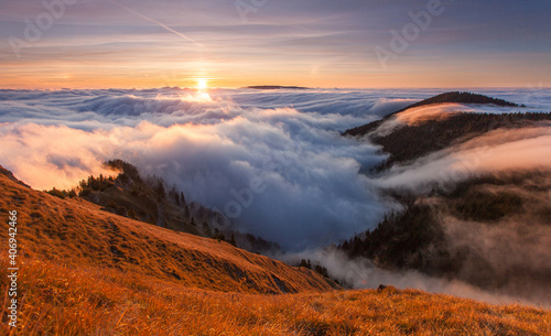 Mountains Landscape with Inversion in the Valley at Sunset, Slovakia