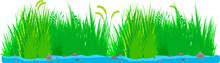 水辺の草むら・茂みライン背景素材(長い)