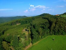 Green Hills, Woods And Meadow Near Castle Buchlov From Drone, Aerial View.