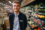 Youmg man on a holiday job in a supermarket