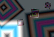 Illuminated Neon Pink Green And Blue Elements Squares Against Silver Grey And Black Background