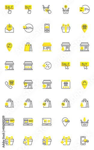 Fotografie, Obraz Online shopping and ecommerce line icons set