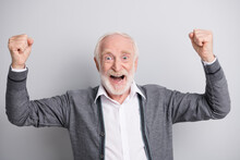 Portrait Of Old White Hair Hooray Man Hands Fists Wear Dark Sweater Isolated On Grey Background