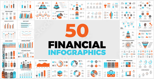50 Financial Infographic Templates for your Presentation. Perfect for your next Business Project. Includes elements from charts or graphs to diagrams and reports.