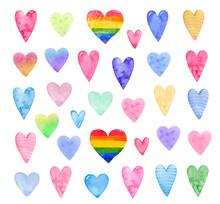 Watercolor Colorful Hearts.