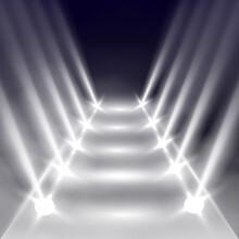 Scene Illumination Effects On Transparent Background With Bright Lighting Of Spotlight