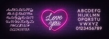 Love You Neon Sign On Brick Wall Background. Valentine's Day Greeting Card. White Neon Alphabets.