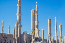 Exterior Design Of Nabawi Mosque (Prophet's Mosque), Medina. Masjid Nabawi The Second Holiest Site In Islam.