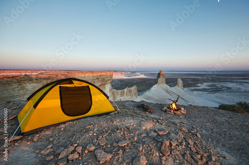 Stampa su Tela Camping with fire at Ustyurt Plateau. Mangistau, Kazakhstan.