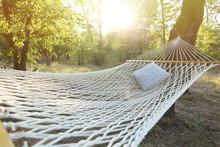 Comfortable Net Hammock With Soft Pillow At Green Garden, Closeup
