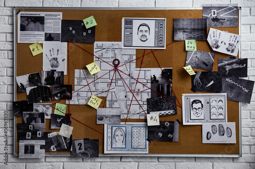 Detective board with fingerprints, photos, map and clues connected by red string Fototapet